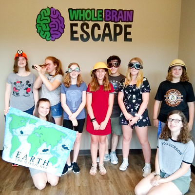 Young girls attend a birthday party at Whole Brain Escape in Apex.